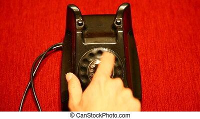 telefoon, retrovial, het draaien