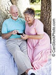 telefoon, senior koppel, smart