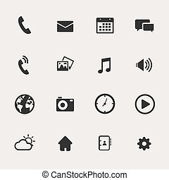 telefoon, set, pictogram