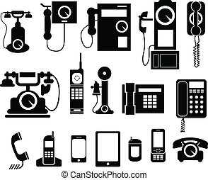 telefoon, set, pictogram