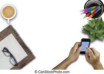 telefoon, smart, man, zakelijk, beweeglijk, gebruik