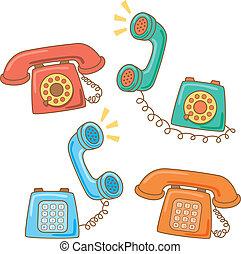 telefoon, spotprent, retro