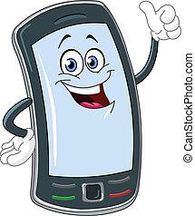 telefoon, spotprent, smart