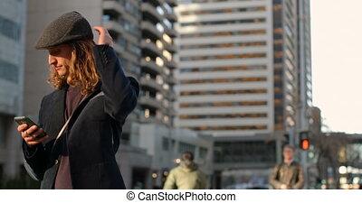 telefoon, stad, bovenkant, beweeglijk, straat, aanzicht,...