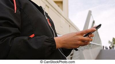 telefoon, stad, gedeelte, beweeglijk, midden, gebruik, 4k,...