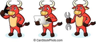 telefoon, stier, rood, mascotte