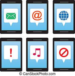 telefoon, symbolen, boodschap
