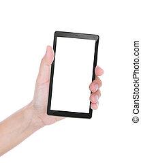 telefoon, tablet, kaart, beweeglijk, vrijstaand, hand, pc, ...