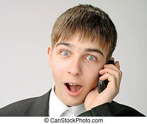 telefoon, tiener, verwonderd