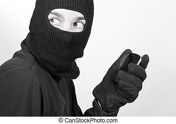telefoon, uitvoeren, crimineel