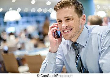 telefoon, uitvoerend, jonge, klesten