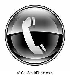 telefoon, vrijstaand, achtergrond., black , witte , pictogram