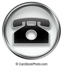 telefoon, vrijstaand, achtergrond., grijze , witte , pictogram