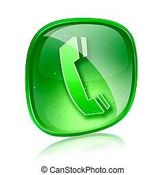 telefoon, vrijstaand, achtergrond., groene, glas, witte , pictogram