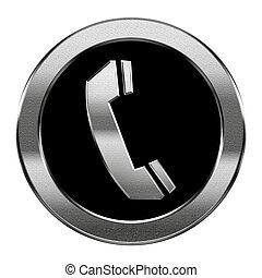 telefoon, vrijstaand, achtergrond., zilver, witte , pictogram