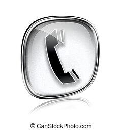telefoon, vrijstaand, grijze , achtergrond., glas, witte , pictogram