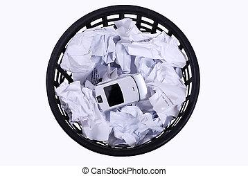 telefoon, wastepaper, papieren