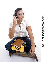 telefoon, werkende, roepen, jonge, student