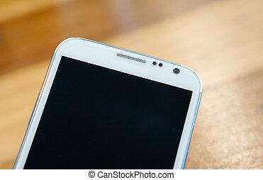 telefoon, witte , hout, smart, achtergrond
