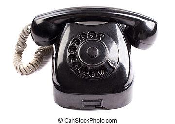 telefoon, witte , oud, achtergrond, black