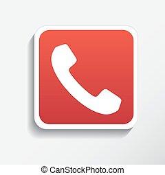 telefoon, witte , vrijstaand, achtergrond, pictogram