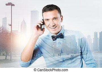 telefoongesprek, vervaardiging, man, blij, aardig