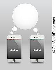 telefoons, moderne, toespraak, cloud., gesprek