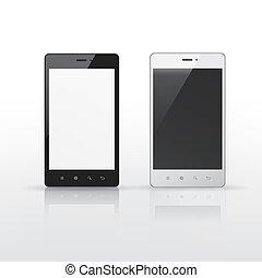 telefoons, scherm, smart, leeg