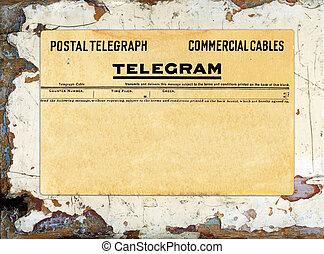 telegrama, en, grungy, pintado, madera