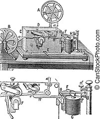 Telegraph, Morse apparatus, vintage engraving.