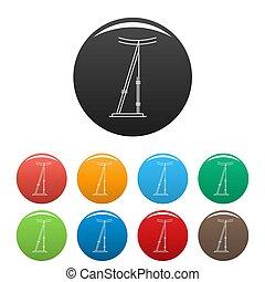 Telegraph pole icons set color