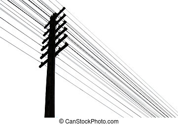 Silhouette of telegraph pole and wires