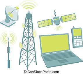 telekommunikation, ausrüstung, ikone, satz