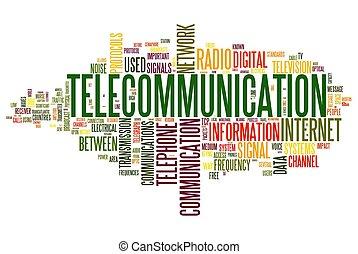 telekommunikation, begriff, in, wort, etikett, wolke