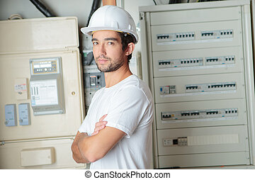 telekommunikation, installerare, framställ