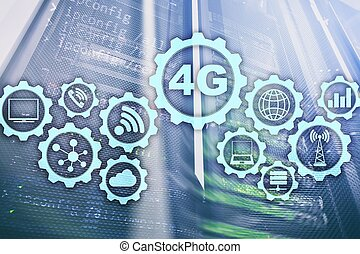 telekommunikation, mobil, hastighet, servare, hög, anslutning, lte., bakgrund, 4g, cellformig, data, concept:, rum