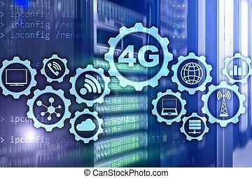 telekommunikation, mobil, hastighet, servare, hög, bakgrund., anslutning, lte., cellformig, 4g, data, concept:, rum