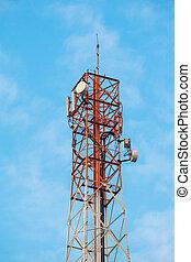 telekommunikationsturm, mit, antennen