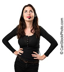 Telemarketer Beautiful young girl looking up