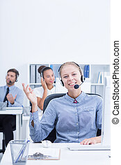Telemarketer using selling techniques - Female telemarketer ...