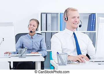 Telemarketers during phone call