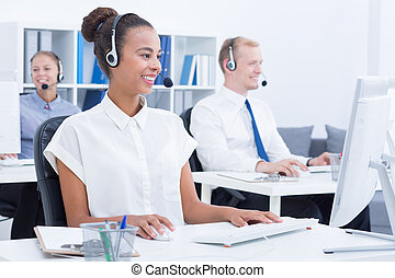 Telemarketers during work