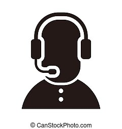telemarketers icon, Customer Service Icon User With Headphone.