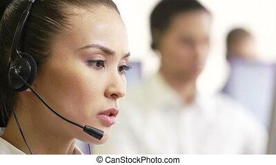 Telemarketing agents - Telephone-center operators at work,...
