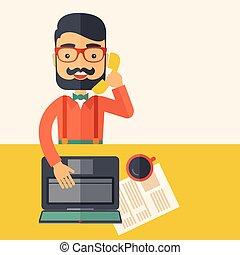 Telemarketing - Hipster Caucasian online customer service ...