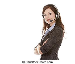 telemarketing person - beautiful brunette wearing business...