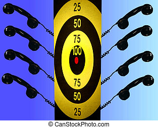 Photo symbolizing telemarketers and targets, pressured phone sales.