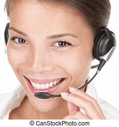 Telemarketing woman wearing headset on white background,