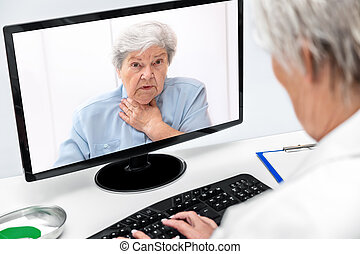 Telemedicine and eHealth with a elderly woman and a female doctor