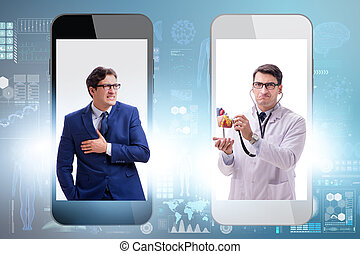 Telemedicine concept with doctor examining remotely